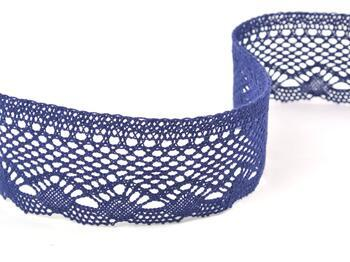 Cotton bobbin lace 75414, width 55 mm, dark blue - 1