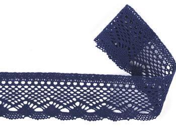 Cotton bobbin lace 75414, width 55 mm, black blue - 1