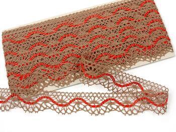 Cotton bobbin lace 75416, width 27 mm, dark beige/red - 1
