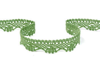 Paličkovaná krajka vzor 75423 zelená olivová - 1