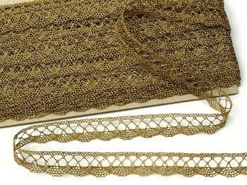 Metalic bobbin lace 75428, width 18 mm, Lurex gold antique - 1