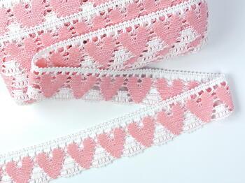 Bobbin lace No. 75438 white/pink | 30 m - 1