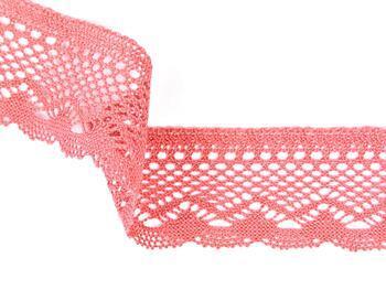 Cotton bobbin lace 75414, width 55 mm, rose - 1
