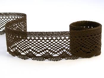 Cotton bobbin lace 75414, width 55 mm, dark brown - 1