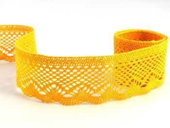 Paličkovaná krajka 75414 bavlněná, šířka55 mm, tm.žlutá - 1