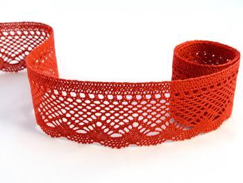 Cotton bobbin lace 75414, width 55 mm, red - 1