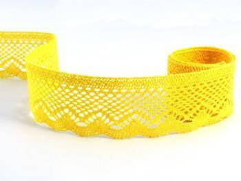 Cotton bobbin lace 75414, width 55 mm, yellow - 1