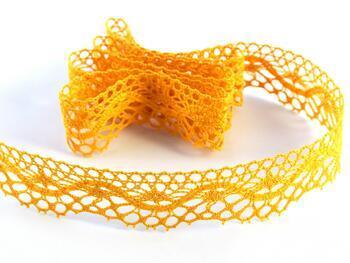 Cotton bobbin lace 75416, width 27 mm, dark yellow - 1