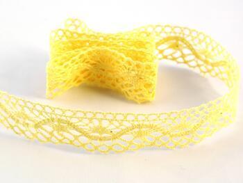 Cotton bobbin lace 75416, width 27 mm, light yellow - 1