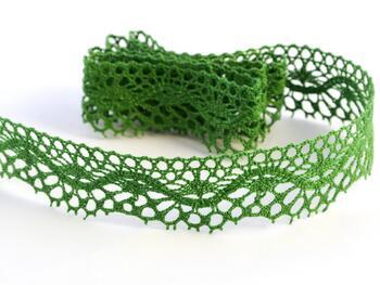 Paličkovaná krajka 75416 bavlněná, šířka27 mm, trávová zelená - 1