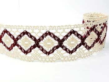 Bobbin lace No. 75608 cream/cranberry | 30 m - 1