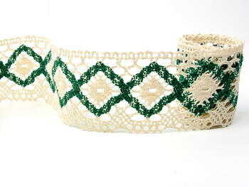 Bobbin lace No. 75608 cream/green | 30 m - 1