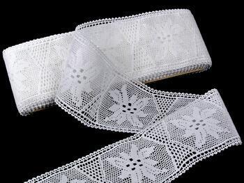 Cotton bobbin lace insert 75168, width80mm, white - 1