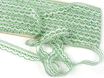Paličkovaná krajka vzor 81215 bílá/trávová zelená | 30 m - 1