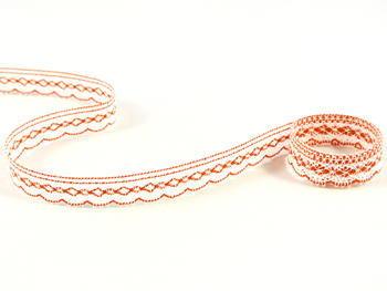 Paličkovaná krajka vzor 81215 bílá/sytě oranžová | 30 m - 1
