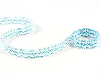 Bobbin lace No. 81215 white/turquoise | 30 m - 1