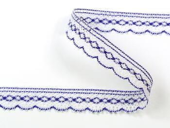 Paličkovaná krajka vzor 81215 bílá/purpurová | 30 m - 1