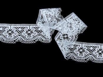 Paličkovaná krajka vzor 81657 bílá | 30 m - 1