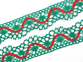 Bobbin lace No. 82129 light green/red | 30 m - 1