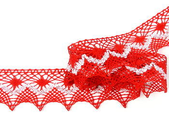 Bobbin lace No. 82157 light red/white | 30 m - 1