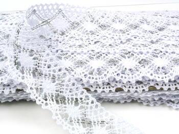 Paličkovaná krajka vzor 82231 bílá/stříbrná | 30 m - 1
