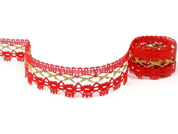 Bobbin lace No. 82293 light red/gold | 30 m - 1