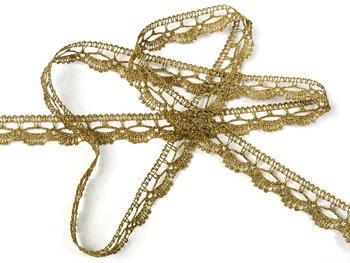 Paličkovaná krajka vzor 82307 zlatá antik | 30 m - 1