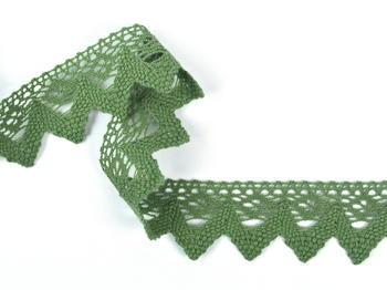 Paličkovaná krajka vzor 82334 zelená olivová | 30 m - 1