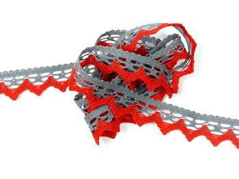 Paličkovaná krajka vzor 82352 šedá/červená | 30 m - 1