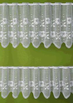 Paličkovaná záclonka FLORA bílá, výška 45 cm
