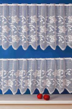 Paličkovaná záclonka 4160154 PATRICIE bílá, výška 54 cm