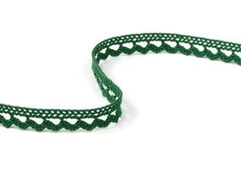 Cotton bobbin lace 73012, width10mm, dark green - 2