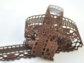Cotton bobbin lace 75005, width38mm, dark brown - 2