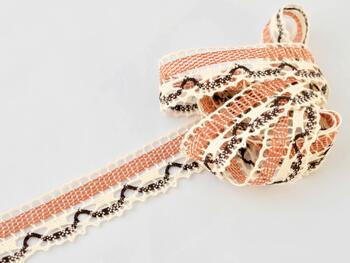 Cotton bobbin lace 75005, width38mm, ecru/terracotta/dark brown - 2