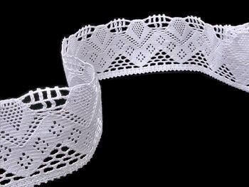 Cotton bobbin lace 75021, width73mm, white - 2