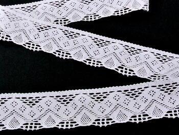 Paličkovaná krajka 75027 bavlněná, šířka40mm, bílá - 2