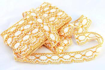 Paličkovaná krajka vzor 75032 bílá/tmavě žlutá | 30 m - 2