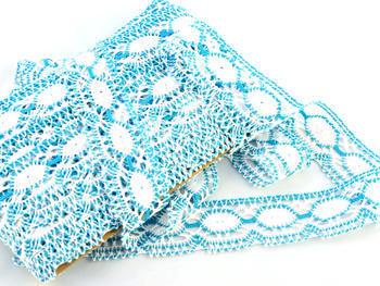 Paličkovaná krajka vzor 75032 bílá/tyrkysová | 30 m - 2