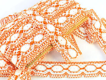 Paličkovaná krajka 75032 bavlněná, šířka45mm, bílá/oranžová - 2