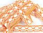 Paličkovaná krajka 75032 bavlněná, šířka45mm, bílá/oranžová - 2/3