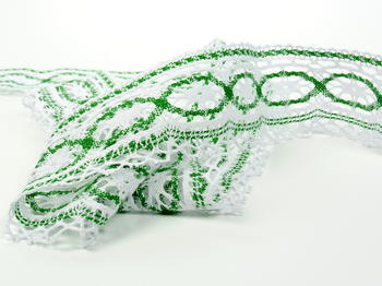 Paličkovaná krajka vzor 75037 bílá/trávová zelená |  30 m - 2