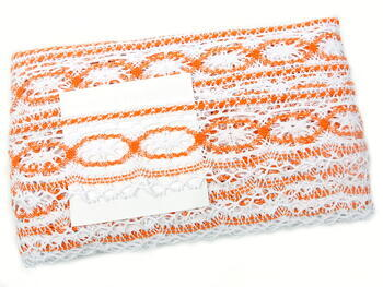 Paličkovaná krajka 75037 bavlněná, šířka57mm, bílá/oranžová - 2