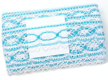Cotton bobbin lace 75037, width57mm, white/turquoise - 2