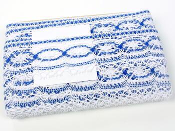 Paličkovaná krajka 75037 bavlněná, šířka57mm, bílá/královská modrá - 2