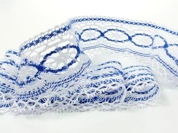 Bobbin lace No. 75037 white/royale blue | 30 m - 2