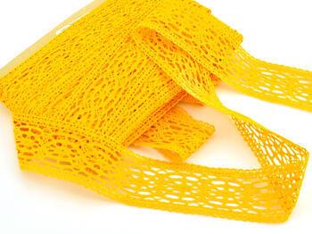 Paličkovaná vsadka 75038 bavlněná, šířka52mm, tm. žlutá - 2