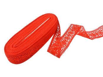 Cotton bobbin lace insert 75038, width52mm, red - 2