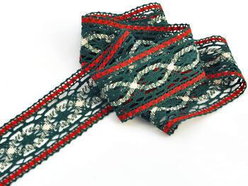 Cotton bobbin lace insert 75038, width52mm, dark green/red/light linen - 2