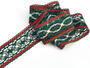 Cotton bobbin lace insert 75038, width52mm, dark green/red/light linen - 2/4