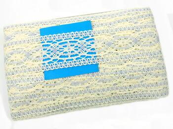 Cotton bobbin lace insert 75038, width52mm, light cream/light blue - 2